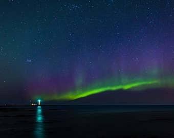 Northern Lights, Iceland, Lighthouse, Night sky, Canvas Print, Metal Print, Landscape Wall Art Decor, Fine Art
