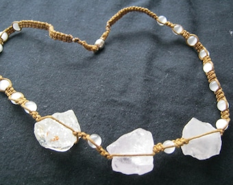 chunks of clear quartz  and white cats eye necklace 22in