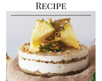 pdf. gluten free, dairy free & sugar free pina-colada cake recipe, vegan, vegetarian, raw, diet, paleo, fitness, cake, healthy, cheese cake