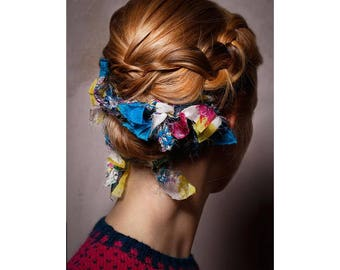 Bridal Hair Accessory - ANNAMARIAANGELIKA - Handmade Featherbun Upcycling Silk 30cm - Wedding, Hairband, Bandeau, Handknit, Festival