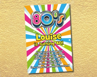 Personalisierte 80er Geburtstag Einladungen 80er Jahre Fluro Glow 80er  Jahre Party Lädt