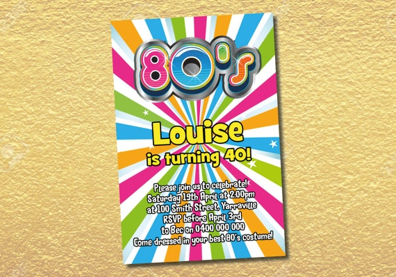Personalised Colourful 80's Party Invitations - made to order