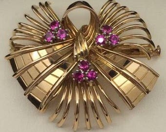 18k French rose gold brooch from the 50's