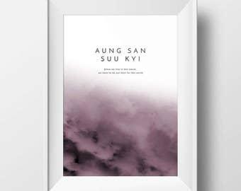 Aung San Suu Kyi poster, Quote poster, Woman print, Women Art, Inspirational quote, Danish design, Scandinavia design, Digital Printable