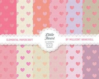 Little Heart - 12 Digital Download Scrapbooking Papers