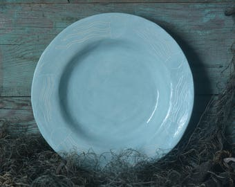 Ceramic Jellyfish Plate Turquoise, Dinner Plate, Soup Plate