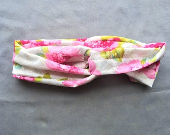 Pink and White Floral Turban Headband
