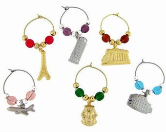 World Travel Drink Charms, Wine Glass Charms