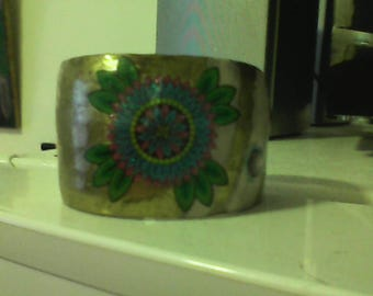 Decorated Bronze Bracelet! Pink, green, blue, sparkly, hand-decorated