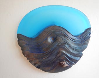 """Electroplated sandblasted hand blown sculpted glass patinaed copper wall art real sea shell """"Seashell"""""""