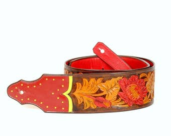 Handmade Tooled Guitar Strap in Red and Green Leather