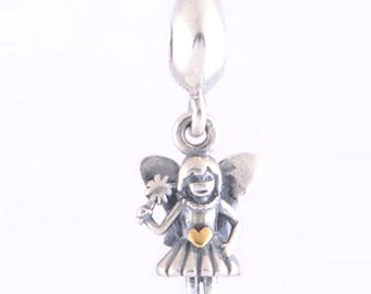 Silver Angel Charm - Fairy Charm - Silver Plated Fiary Dangle Charm with Gold Heart - Fits all Charm Bracelets