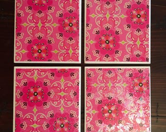 Pink Coasters (Set of 4 Second Chance Charm
