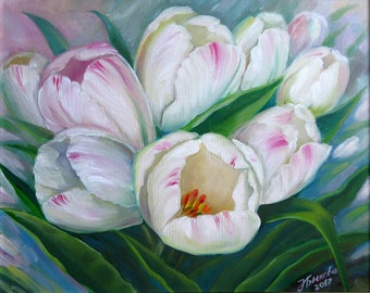 White Tulips Bykova Original Oil Painting Spring Flower Bloom Blossom Mother day Birthday Wedding Friend Gift Present for Her New Wall Decor