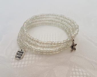 White / Translucent Beaded Memory Wire Bracelet With Silver-Tone Charms