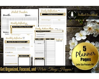 Daily Planner Printable Inserts | Life Binder | Weekly Planner, Organizer PDF Download