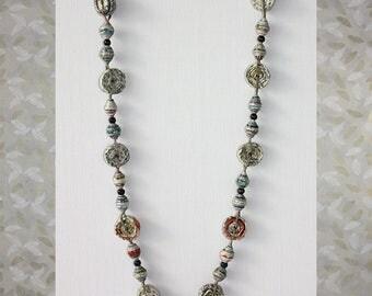 Paper jewelry. Newspaper beads. Chunky paper jewellery.