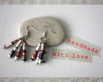 Dangle earrings. Handmade paper jewellery. Upcycle jewelry. Magazine paper earrings.
