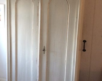 Beautiful distressed vintage white wooden wardrobe