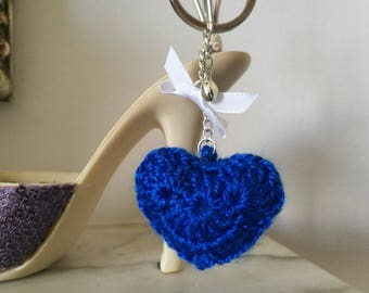 Blue Heart Keyring