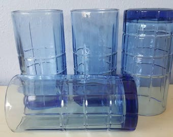 Vintage Anchor Hocking Blue Tumblers!