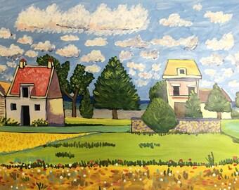 Summer Farm Landscape Painting