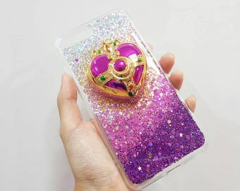 mirror phone case. resin sparkle case with a sailor moon transformation compact mirror iphone samsung huawei phone n