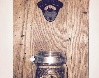 Rustic Distressed Wall Mounted Bottle Opener With Mason Jar