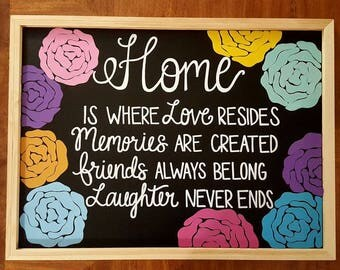Home is where love resides Hand Painted Custom Chalkboard - Welcoming Home Decor, Housewarming Gift, Wall Decor