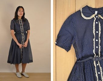 Vintage Party Dress / Navy Microdot / Peter Pan Collar