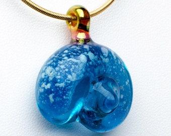 Sapphire Glass Nautilus Pet Cremation Pendant