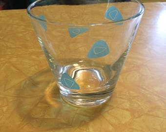 Vintage Drinking Glass with Aqua Pattern