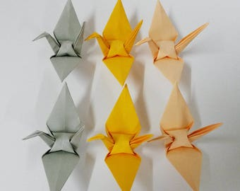 """You Pick Colors - 100 Large Grey / Gold / Peach Origami Cranes Made From Paper Size 6"""" x 6"""""""
