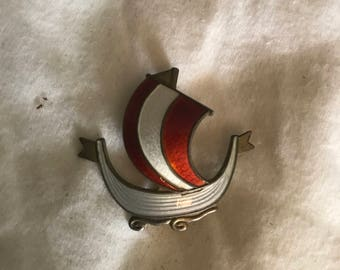 Antique Sterling Silver White and Red Enamel Norway Viking Ship Brooch
