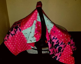Nautical Girl Patchwork Carseat Cover