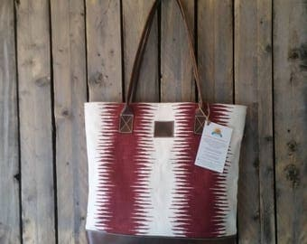 Large Red and White canvas with Brown Leather Tote
