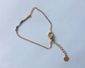 Gold Bracelet with Miyuki Beads / Dainty Bracelet, Beaded Bracelet, Minimal Bracelet
