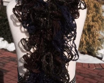 Gorgeous frilly black, blue, brown scarf