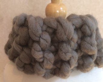 Super soft hand-knit cowl in taupe