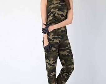 Camouflage Jumpsuit, Military Jumpsuit, Camo jumpsuit, Camo overalls, Army jumpsuit, Camouflage overalls, Camo romper, Womens Romper