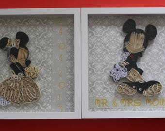Quilled Wall Art: Mickey and Minnie Wedding - Disney wedding gift - 3D Art - Disney Couple gifts - Gifts for the couple - 1st anniversary