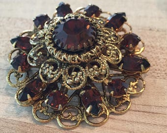 Beautiful Gold Toned and Brown Rhinestone Brooch