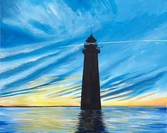 Lighthouse painting, Giclee print, blue skies, south shore sunset