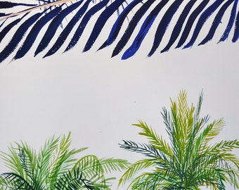 Palm trees in Barcelona. Original drawing.
