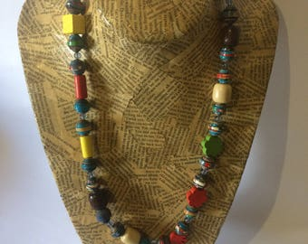 Multi-coloured Paper Bead Necklace