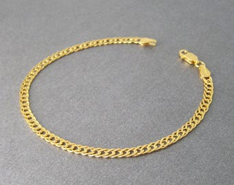Gold plated chain 24 k over Silver 925/1000th bracelet