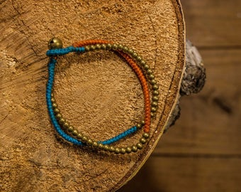 Macrame bracelet bi color brass/blue and orange beaded/closing with Tinkerbell