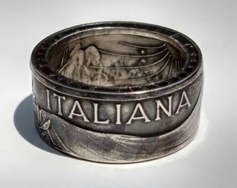 Silver Italian 500 Lira Ring