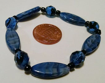 Blue and Black Stretch Bracelet