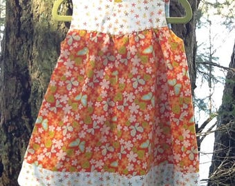 Girls 1T / 12-18 months Handmade Reversible Cotton Dress Reversible with Bloomers!